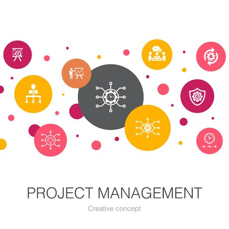 Project management trendy circle template with simple icons. Contains such elements as Project presentation, Meeting, workflow, Risk management Illustration