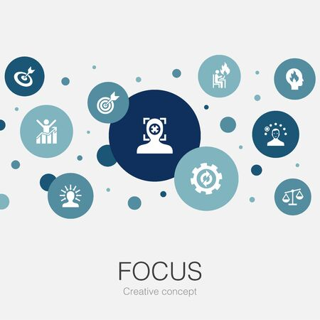 focus trendy circle template with simple icons. Contains such elements as target, motivation, integrity, process