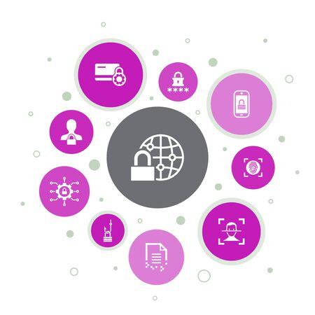 Internet Security Infographic 10 steps pixel design.cyber security, fingerprint scanner, data encryption, password simple icons
