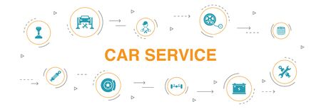 Car service Infographic 10 steps circle design. disk brake, suspension, spare parts, Transmission simple icons