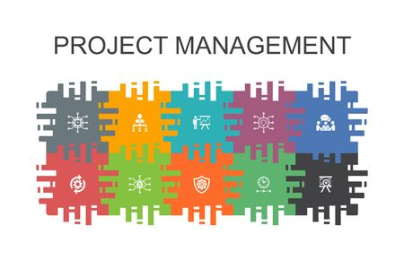 Project management cartoon template with flat elements. Contains such icons as Project presentation, Meeting, workflow, Risk management Ilustración de vector
