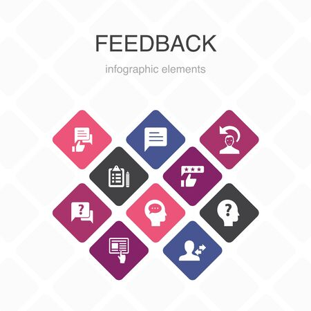 feedback Infographic 10 option color design.survey, opinion, comment, response simple icons Illustration