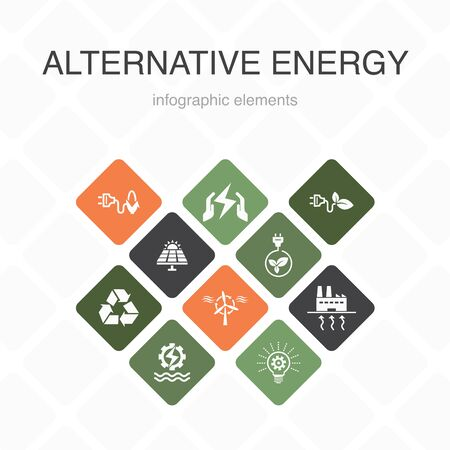 Alternative energy Infographic 10 option color design.Solar Power, Wind Power, Geothermal Energy, Recycling simple icons 向量圖像
