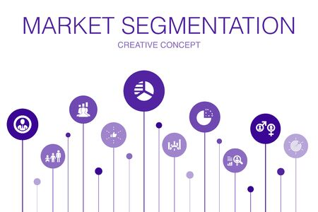 market segmentation Infographic 10 steps template. demography, segment, Benchmarking, Age group icons
