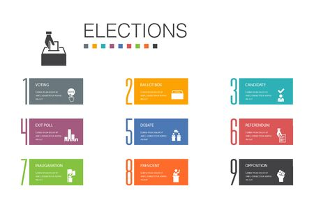 Elections Infographic 10 option line concept.Voting, Ballot box, Candidate, Exit poll simple icons