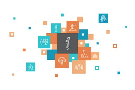 Entrepreneurship Infographic 10 steps pixel design. Investor, Partnership, Leadership, Team building simple icons