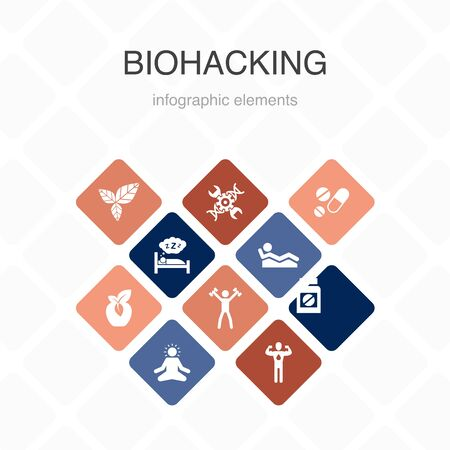 biohacking Infographic 10 option color design.organic food, healthy sleeping, meditation, drugs simple icons