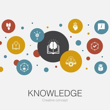 knowledge trendy circle template with simple icons. Contains such elements as subject, education, information, experience
