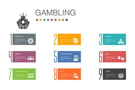 Glücksspiel Infografik 10 Optionszeilenkonzept. Roulette, Casino, Geld, Online-Casino einfache Symbole