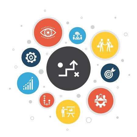 Strategy Infographic 10 steps bubble design.goal, growth, process, teamwork simple icons  イラスト・ベクター素材