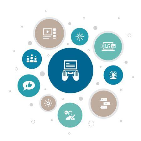 blogging Infographic 10 steps bubble design. social media, Comments, Blogger, digital content icons