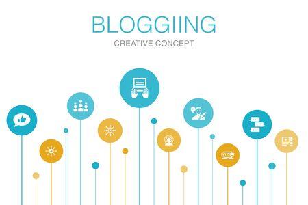 blogging Infographic 10 steps template. social media, Comments, Blogger, digital content icons Illustration