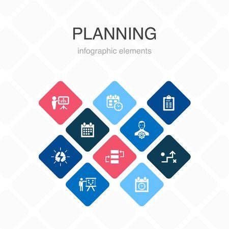 planning Infographic 10 option color design.calendar, schedule, timetable, Action Plan simple icons