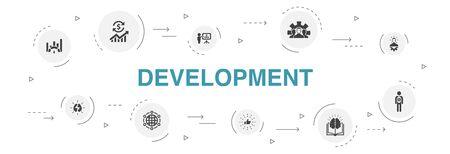 Development Infographic 10 steps circle design.global solution, knowledge, investor, Brainstorming simple icons Vektorgrafik