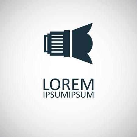 dslr lens icon, on white background.