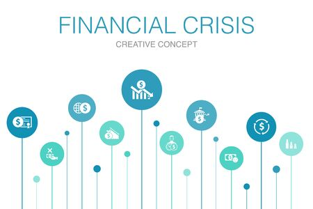 financial crisis Infographic 10 steps template.budget deficit, Bad loans, Government debt, Refinancing simple icons