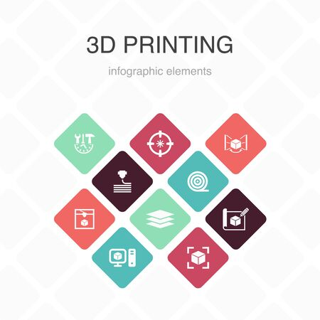 3d printing Infographic 10 option color design.3d printer, filament, prototyping, model preparation simple icons