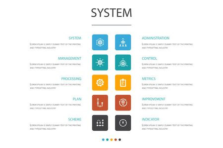 system Infographic 10 option concept.management, processing, plan, scheme simple icons