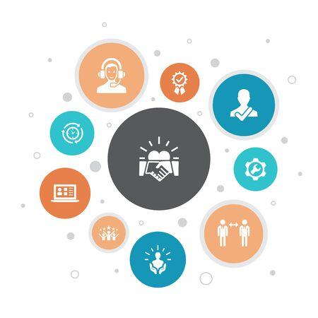 customer relationship Infographic 10 steps bubble design. communication, service, CRM, customer care simple icons Reklamní fotografie - 133749737