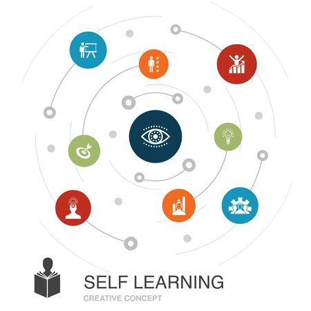Self learning colored circle concept with simple icons. Contains such elements as personal growth, inspiration, creativity, development Illustration