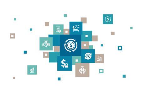Income Infographic 10 steps bubble design.save money, profit, investment, profitability simple icons Ilustração
