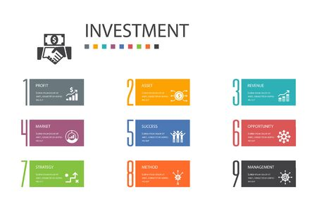 Investment Infographic 10 option line concept.profit, asset, market, success simple icons
