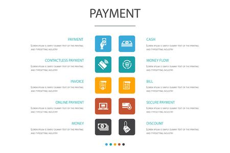payment Infographic 10 option concept. Invoice, money, bill, discount simple icons Çizim