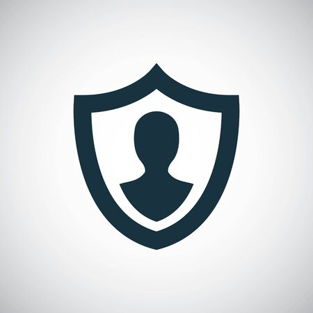 icône d'assurance bouclier humain, sur fond blanc.