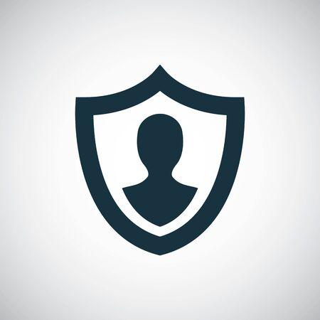 icona di assicurazione scudo umano, su sfondo bianco.