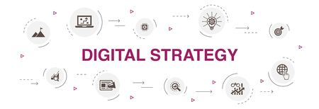 digital strategy Infographic 10 steps circle design. internet, SEO, content marketing, mission simple icons Vector Illustration