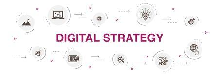 stratégie numérique Infographie 10 étapes cercle design. internet, référencement, marketing de contenu, icônes simples de mission Vecteurs
