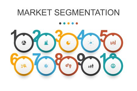 market segmentation Infographic design template.demography, segment, Benchmarking, Age group simple icons