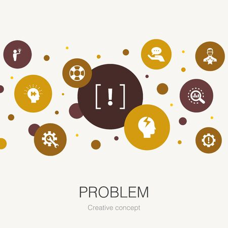 problem trendy circle template with simple icons. Contains such elements as solution, depression, analyze, resolve