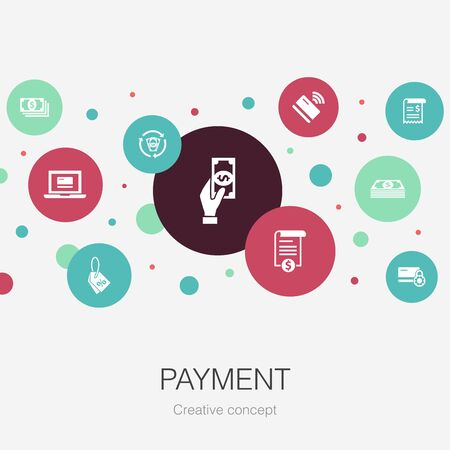payment trendy circle template with simple icons. Contains such elements as Invoice, money, bill, discount