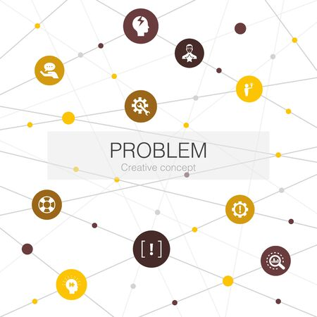 problem trendy web template with simple icons. Contains such elements as solution, depression, analyze, resolve