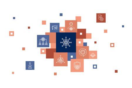 management Infographic 10 steps pixel design. manager, control, organization, presentation simple icons