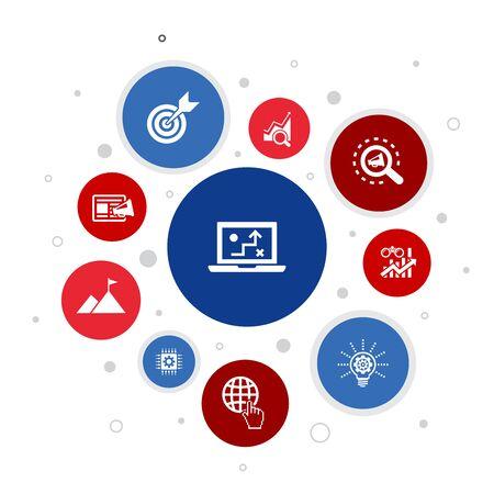 stratégie numérique Infographie 10 étapes de conception de bulles. internet, référencement, marketing de contenu, icônes simples de mission