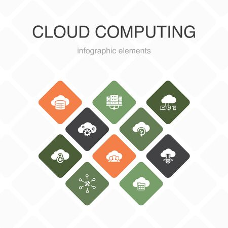 Cloud computing Infographic 10 option color design.Cloud Backup, data center, SaaS, Service provider simple icons 向量圖像