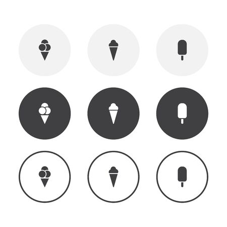Set of 3 simple design ice cream icons. Rounded background ice cream symbol collection Ilustração