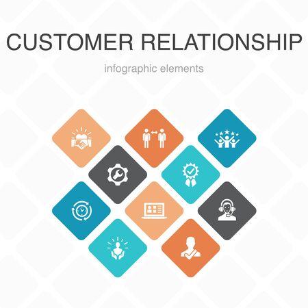 customer relationship Infographic 10 option color design.communication, service, CRM, customer care simple icons Reklamní fotografie - 133749926