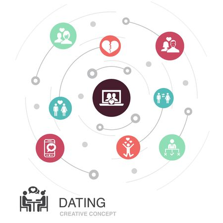 Dating colored circle concept with simple icons. Contains such elements as couple in love, fall in love, dating app, relations