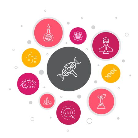 Entrepreneurship Infographic 10 steps bubble design. Investor, Partnership, Leadership, Team building simple icons
