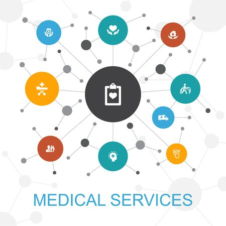 Medical services trendy web concept with icons. Contains such icons as Emergency, Preventive care, patient Transportation, Prenatal care