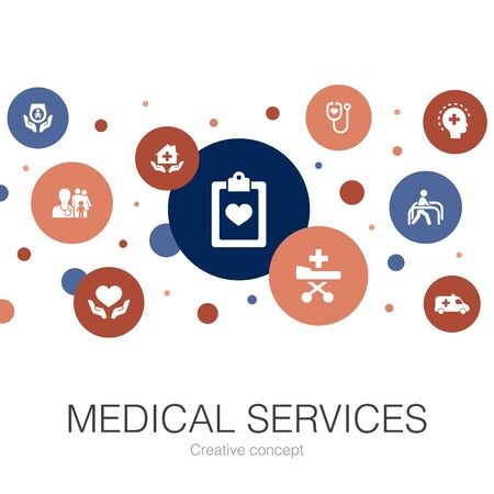 Medical services trendy circle template with simple icons. Contains such elements as Emergency, Preventive care, patient Transportation, Prenatal care