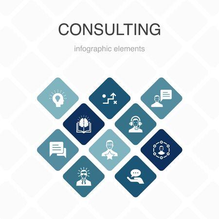 Consultoría Infografía diseño de color de 10 opciones. Experto, conocimiento, experiencia, consultor iconos simples