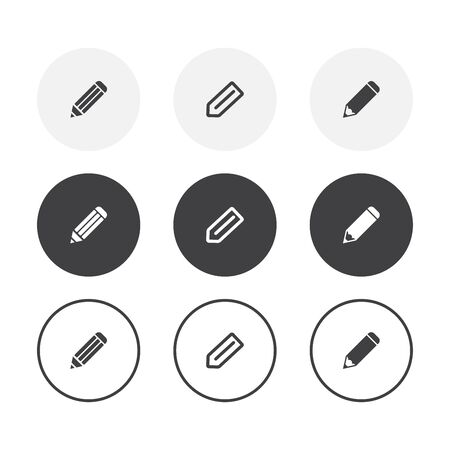 Set of 3 simple design pencil icons. Rounded background pencil symbol collection 일러스트