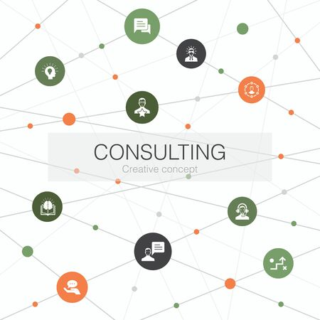 Consulting trendy web template with simple icons. Contains such elements as Expert, knowledge, experience, consultant