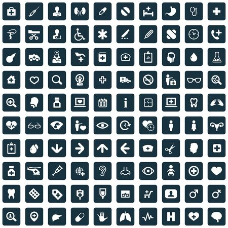 doctor 100 icons universal set for web and mobile.