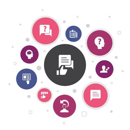 feedback Infografica 10 passaggi pixel design.sondaggio, opinione, commento, risposta semplici icone