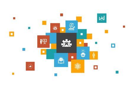 Entwicklungsinfografik 10-Schritte-Pixel-Design. Globale Lösung, Wissen, Investor, Brainstorming einfacher Symbole